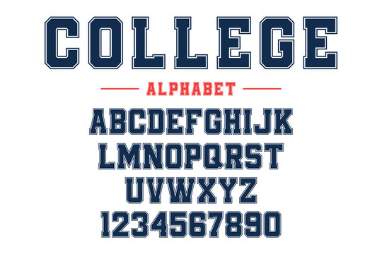 Classic college font. Vintage sport font in american style for football, baseball or basketball logos and t-shirt. Athletic department typeface, varsity style font