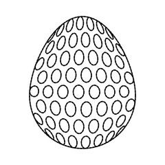 uncolored easter egg  with  dots sticker   vector illustration