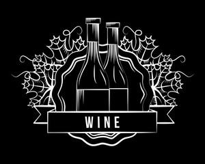 wine glass bottles white elegant stamp dark background vector illustration