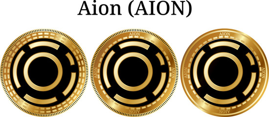 Set of physical golden coin Aion (AION)