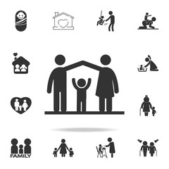 parents protect the child icon. Detailed set of family icons. Premium quality graphic design. One of the collection icons for websites, web design, mobile appfamily