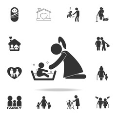 Mother washing her child 's with love illustration. Detailed set of family icons. Premium quality graphic design. One of the collection icons for websites, web designfamily