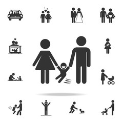 parents with a swinging child icon. Detailed set of family icons. Premium quality graphic design. One of the collection icons for websites, web design, mobile appfamily