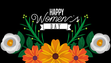 beautiful flowers on the dark background - happy womens day card vector illustration