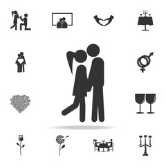Kissing lovers icon. Love or couple element icon. Detailed set of signs and elements of love icons. Premium quality graphic design. One of the collection icons for websites
