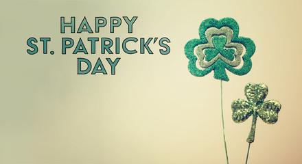 Saint Patricks Day shiny green clover ornaments