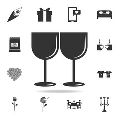 Two glasses of wine icon. Love or couple element icon. Detailed set of signs and elements of love icons. Premium quality graphic design. One of the collection icons for websites