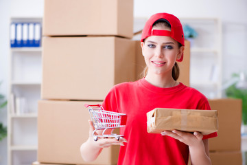 Young woman working in parcel distribution center