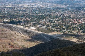 San Antonio Dam and View of the City of Claremont, Ontario, Upland, Rancho Cucamonga, Montclair, and Pomona from Potato Mountain, Mount Baldy, California