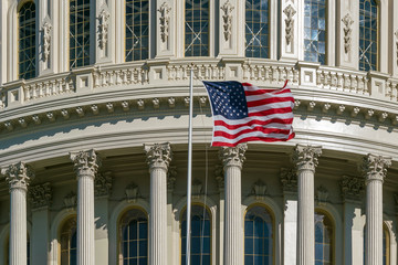 Fototapete - Washington DC Capitol detail with american flag
