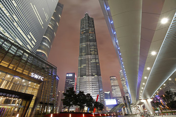 On September 25, 2015, China, Shanghai ,Shanghai lujiazui financial district and commercial buildings in the evening, lujiazui is one of the most influential financial center in China.