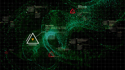 Wall Mural - Military head up display targeting and tracking enemy in digital cyber space particles background