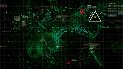 Military head up display targeting and tracking enemy in digital cyber space particles background