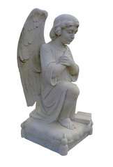 Kneeling Angel Praying From the Side View