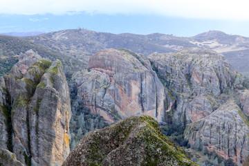 Volcanic Rocks at High Peaks on a winter day. Pinnacles National Park, San Benito County, California, USA.