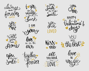 love lettering set. vector illustration