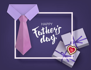 Fathers Day. Celebratory background with a classic collar shirt, tie and gifts. Paper cut. Vector illustration