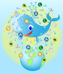 whale, pouring the Earth with a fountain of crypto currency and water Whale business logo