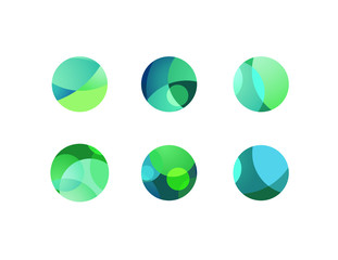 Abstract circular sphere icons with overlapping circles and round shapes. Green and blue highlights and shadows of cropped orbs.