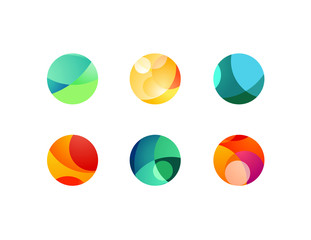 Abstract circular sphere icons with overlapping circles and round shapes. Highlights and shadows of cropped orbs.
