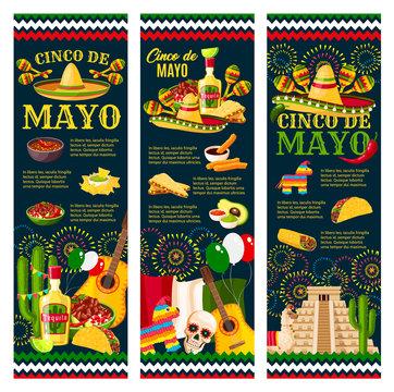 Cinco de Mayo mexican festival greeting banner
