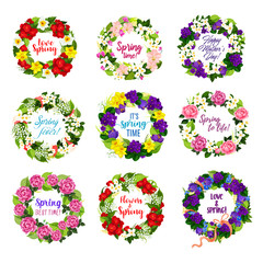 Flower wreath for Mother Day holiday greeting card