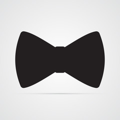 Carved silhouette flat icon, simple vector design. Bow for present, celebration and congratulation. Illustration of bow tie for men's accessory of clothes. Symbol of gentleman