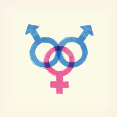 Blue and pink sex two men and one woman, male, female crossing signs icon, symbol , pale yellow background. Painted design element. Watercolor illustration for typography magazine, flyer, poster.