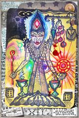Foto op Aluminium Disegni e manoscritti alchemici e esoterici con collage,formule e tarocchi