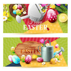 Colorful Easter headers or banners
