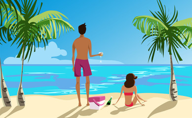 girl and guy on the beach. vector illustration
