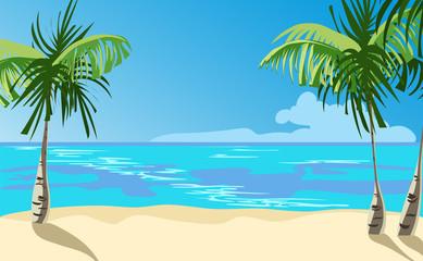 Poster Turquoise ocean coast. vector illustration
