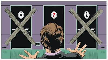 Doors toilets for men, women and sexual minorities. Confused man.