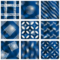 Set of blue batik patterns