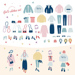 Set of girl's fashion clothes vector illustration. casual style.