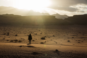 Silhouette of a girl who watches the sunset in desert in Jordan