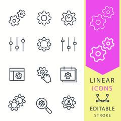 Settings - line vector icon set. Editable stroke.