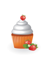 Cupcake with strawberry, vector