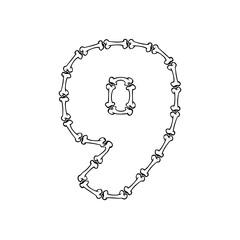 9 Bone Letter Logo Icon Design