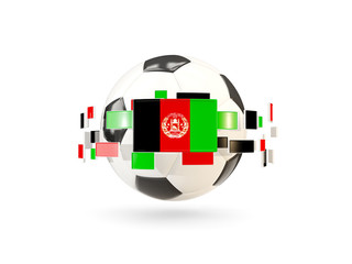 Soccer ball with line of flags. Flag of afghanistan
