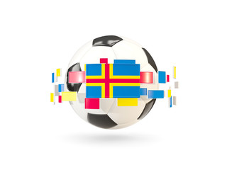 Soccer ball with line of flags. Flag of aland islands