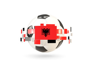 Soccer ball with line of flags. Flag of albania