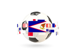 Soccer ball with line of flags. Flag of american samoa
