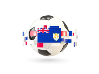 Soccer ball with line of flags. Flag of anguilla