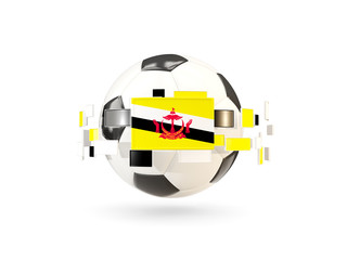 Soccer ball with line of flags. Flag of brunei