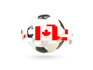 Soccer ball with line of flags. Flag of canada
