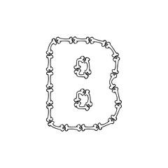 B Bone Letter Logo Icon Design