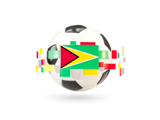 Soccer ball with line of flags. Flag of guyana