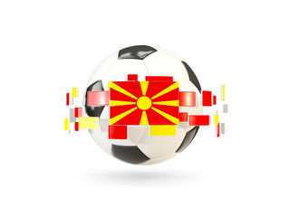 Soccer ball with line of flags. Flag of macedonia
