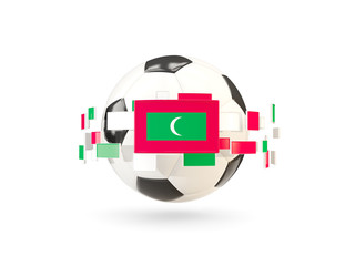 Soccer ball with line of flags. Flag of maldives